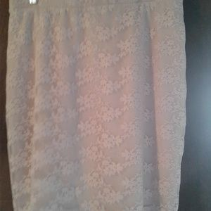 skirt, blush color, with lace overlay.
